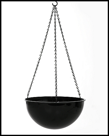 Vo 270bk 11 1 2 black plastic hanging planter with 18 chain carton of 6 - Metal hanging planter ...