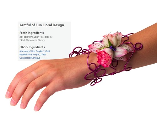 "Armful Corsage Wearable Floral Design - Scroll Down to ""Click Here"" for link to Recipe Card"