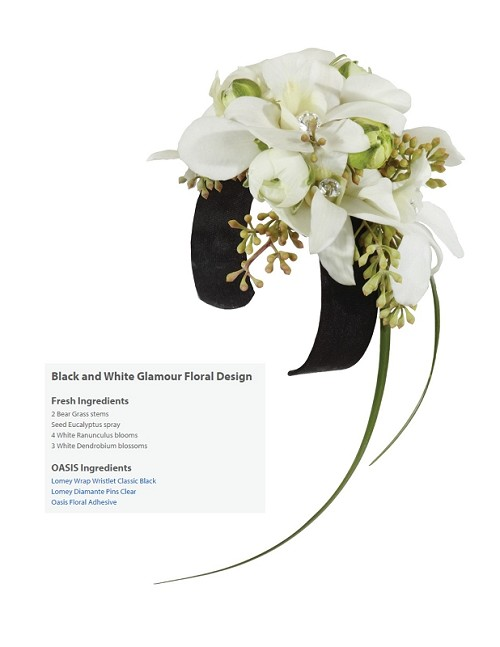 "Black and White Glamour Corsage Wearable Floral Design - Scroll Down to ""Click Here"" for link to Recipe Card"