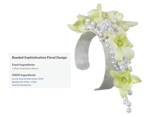 "Beaded Sophistication Corsage Wearable Floral Design - Scroll Down to ""Click Here"" for link to Recipe Card"