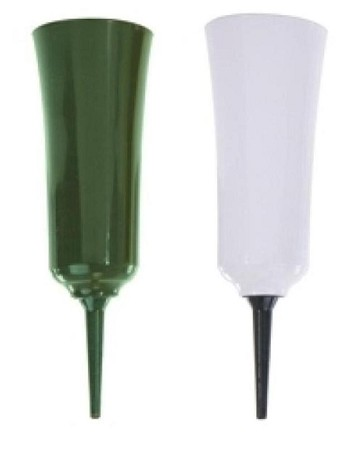 "VO-2060 - 8"" Plastic Cemetery Vase with Spike (Green or White) - carton of 36"
