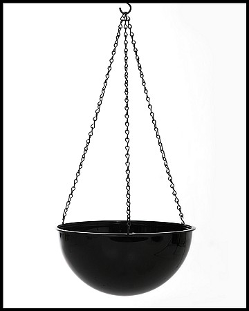 "VO-270BK - 11 1/2"" Black Plastic Hanging Planter with 18"" Chain - carton of 6"