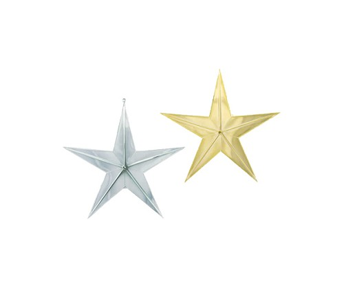 "VO-281-2 - 6 1/2"" Plastic Star (Silver or Gold) - carton of 24"