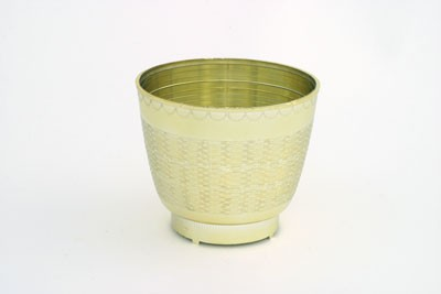 "VO-451-2 - 4 1/2"" Plastic Wicker Design Planter (Gold or Silver) - carton of 48"