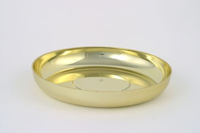 VO-631-2-P - Large Plastic Round Design Dish (Gold or Silver) - by the piece